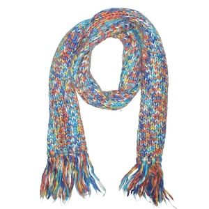 Multicolored Red Blue Yellow Knit Scarf